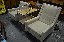 Pair of Vintage Fabric Armchairs