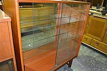 Teak Bookcase w Glassfront Doors
