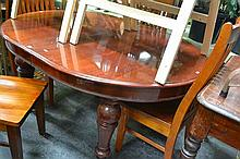 Victorian Mahogany D End Extending Dining Table With Two Leaves And On Turned Legs