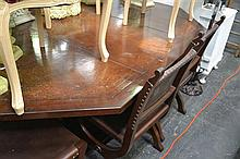 Dining Setting Incl. Extension Dining Table w Leather Insert And Six Spanish Style Chairs