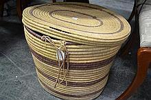 Large African Lidded Basket together w/ 3 small lidded baskets