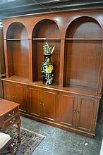 Large Arched Top Bookcase above Cabinet Base