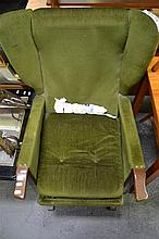 Pair of Vintage Wingback Rocking Chairs in Green