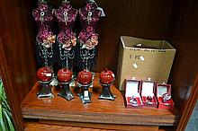Set of 6 Jewellery Stands, Collection of Small Cased Trinkets & 4 Decorative Apples on Stand