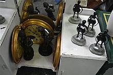 Collection of Varied Figures & 3 Gilt Framed Wall Clocks