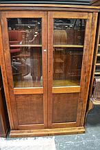 Timber Bookcase w 2 Glass Panel Doors