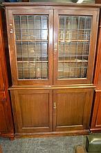 1920's Maple Bookcase w Leadlight Glass Doors