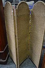 Wicker Three Panel Dressing Screen