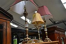 Pair Of Gilt Table Lamps With Another
