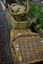 Vintage 'Bluebird' Pram with Celluloid Doll; together with Picnic Basket & Contents