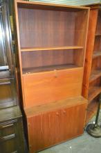 Vintage Teak Bookcase with Drop Front Desk