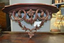Demi Lune Wall Mount Shelf with Floral Carved Support