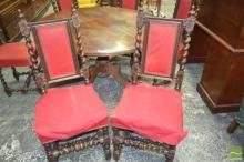 Set of Six Jacobean Style Dining Chairs