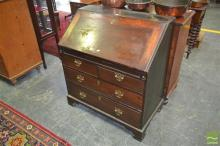 Unusual George III Fruitwood Bureau, enclosing a fitted interior of pigeon holes, secret column drawers and others, flanking a cabin...