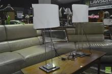 Pair of Graduated Table Lamps on Metal Bases