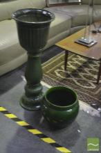 3 Green Ceramic Planters and 2 Stands