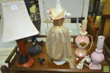 Collection Of Lamps, Small Mannequin etc
