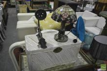 Singular Brass Sconce with a Singular Lead Light Table Lamp and Wicker Basket