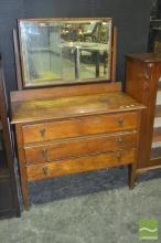 Oak Three Drawer Mirrored Back Dresser