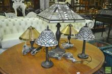 Two Pairs of Table Lamps with Another Large Leadlight Table Lamp