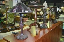Pair of Leadlight Shade Table Lamps with Another Lady Figural Table Lamp