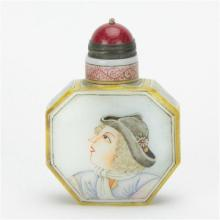 Chien Lung Marked Peking Glass European Painted Snuff Bottle