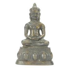 Dhyana-Mudra Bronze Indian Buddha Figure