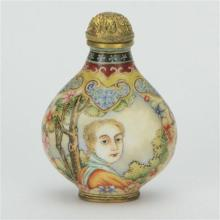 Yung-Cheng Marked Bronze European Painted Snuff Bottle
