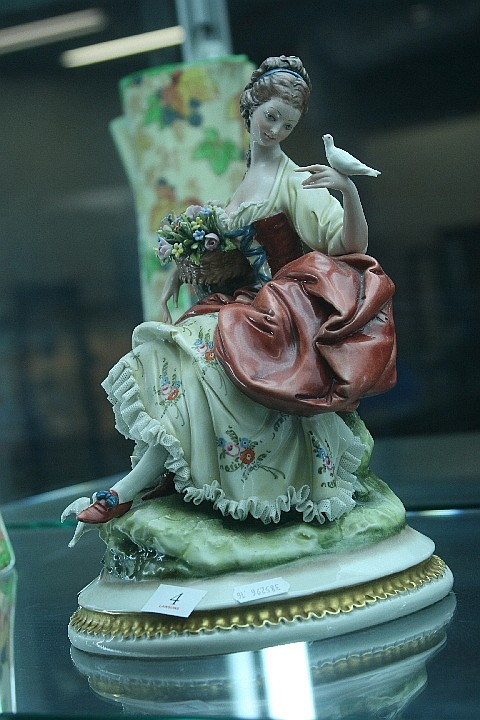 Italian Figure of a Lady with Flowers & Birds
