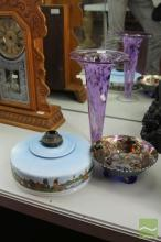 Carnival Glass Bowl, Signed Vase & a Dutch Light Fitting
