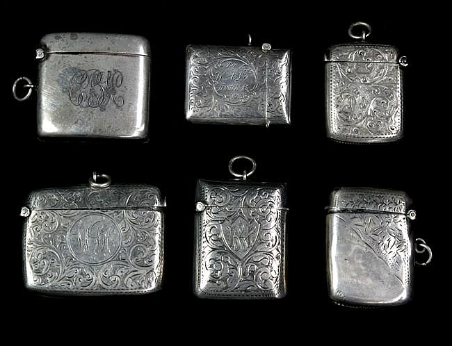 HMS Silver Group of Six Vesta Cases