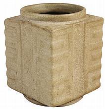 Chinese Antique Crackle Glaze Cong Vase