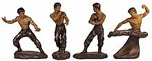 Chinese 'Bruce Lee' Kung Fu Pottery Figures