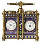 Cloisonne Duel Carriage Clock Barometer