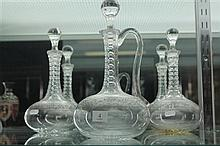 Cut Crystal Etched 3 Piece Drinks Suite