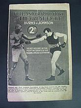Burns v Johnson - Full and Graphic Story of The Great Fight. Booklet not dated but c.1909