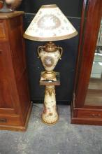 Painted Urn Style Table Lamp w Gilt Mounts on a Matching Pedestal