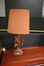 Timber Carved Buddha Table Lamp