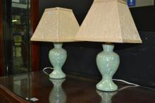 Pair Of Small Blue Lustre Lamps