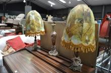 Pair Of Brass & Alabaster Table Lamps and Another