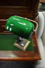 Brass Base Bankers Lamp w Green Shade
