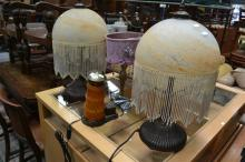 Pair Of Beaded Shade Table Lamps And Two Others