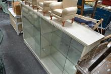 Bookcase w Glass Shelves & Sliding Glass Doors