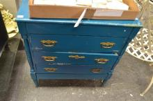 Raised Painted Timber Chest of 3 Drawers