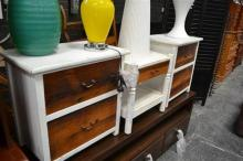 Pair of White Painted Bedside Cabinets with Another