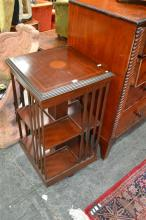 Victorian style inlaid Mahogany Revolving Bookcase of two tiers. width 46cm.