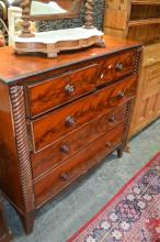 Early C19th Flame Mahogany Chest of Five Drawers, with rope twist fascia. width 118cm