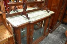 Early 20th Century French Oak & Brass Mounted Display Cabinet, with low mirror back, green speckled marble and three glass panel doo...