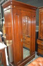 Late 19th Century Cedar Wardrobe, with single mirror panel door, enclosing hanging and lower shelf,  width 126cm