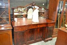 Victorian Breakfront Sideboard with Carved Mirrored Back above 2 Drawers and 2 Panel Doors